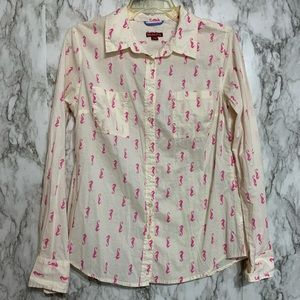 Merona Cream Color button up with pink sea horses
